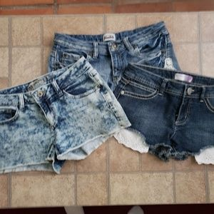 Lot of 3  jrs. Size 7 jean shorts